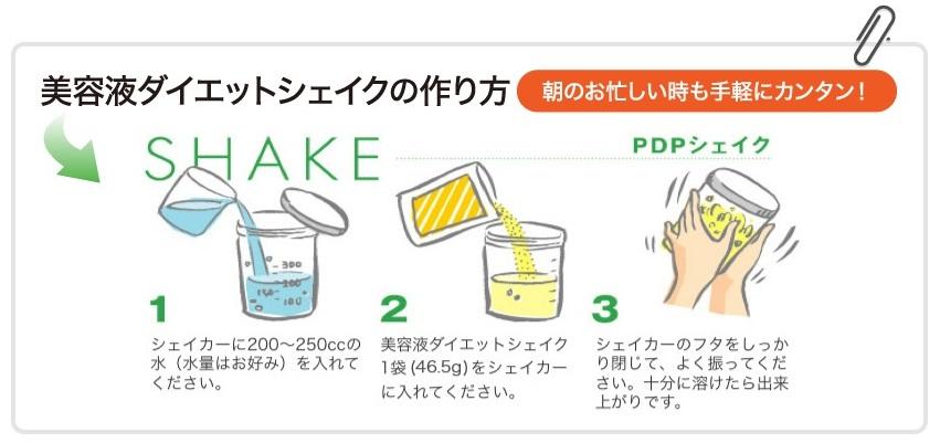 美容液ダイエットシェイクは、専用シェイカーに水200〜250mlと美容液ダイエットシェイク1袋を入れて、よく振ってから飲みます。