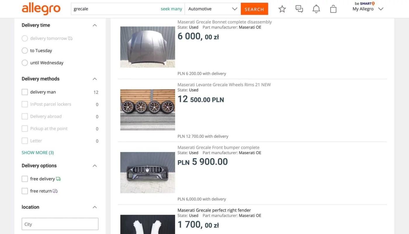 Maserati Grecale'in parçaları bir web sitesinde satışa çıkarıldı