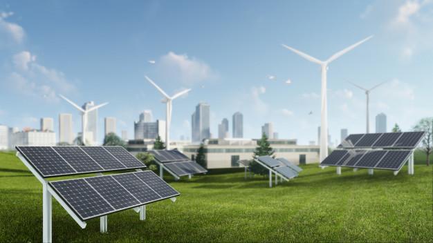 paneles solares y molinos de viento