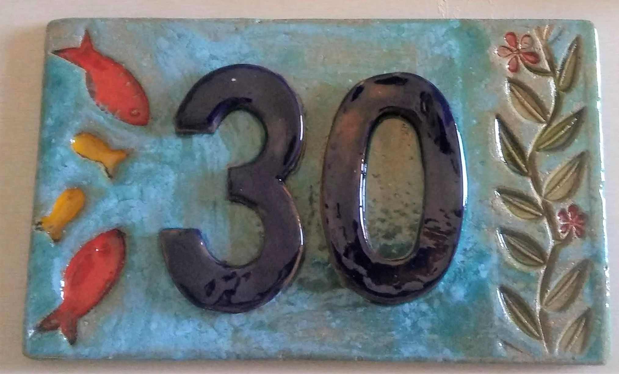 ceramic house number tile otro mar