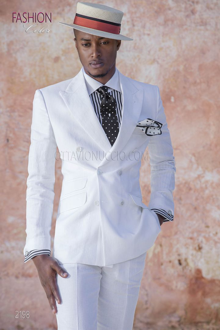 White doublebreasted italian wedding suit in linen for