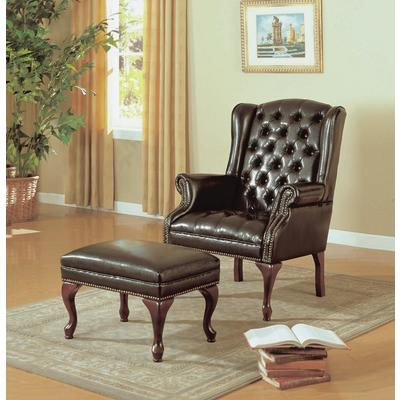 leather wingback chairs canada hanging chair revit monarch specialties, inc. dark brown look wing & ottoman - home depot ottawa