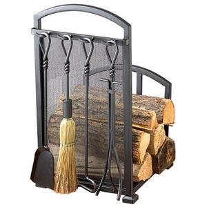 Signature Series Black Log Rack and Tool Set