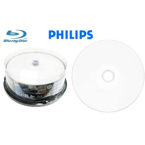 Philips Blu-ray BD-R 25GB 6X White Hub Inkjet Printable