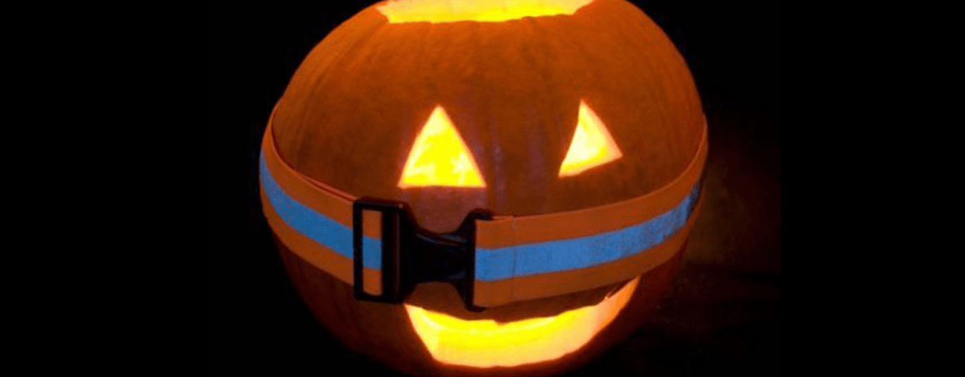 Pumpkin with a reflective belt on it