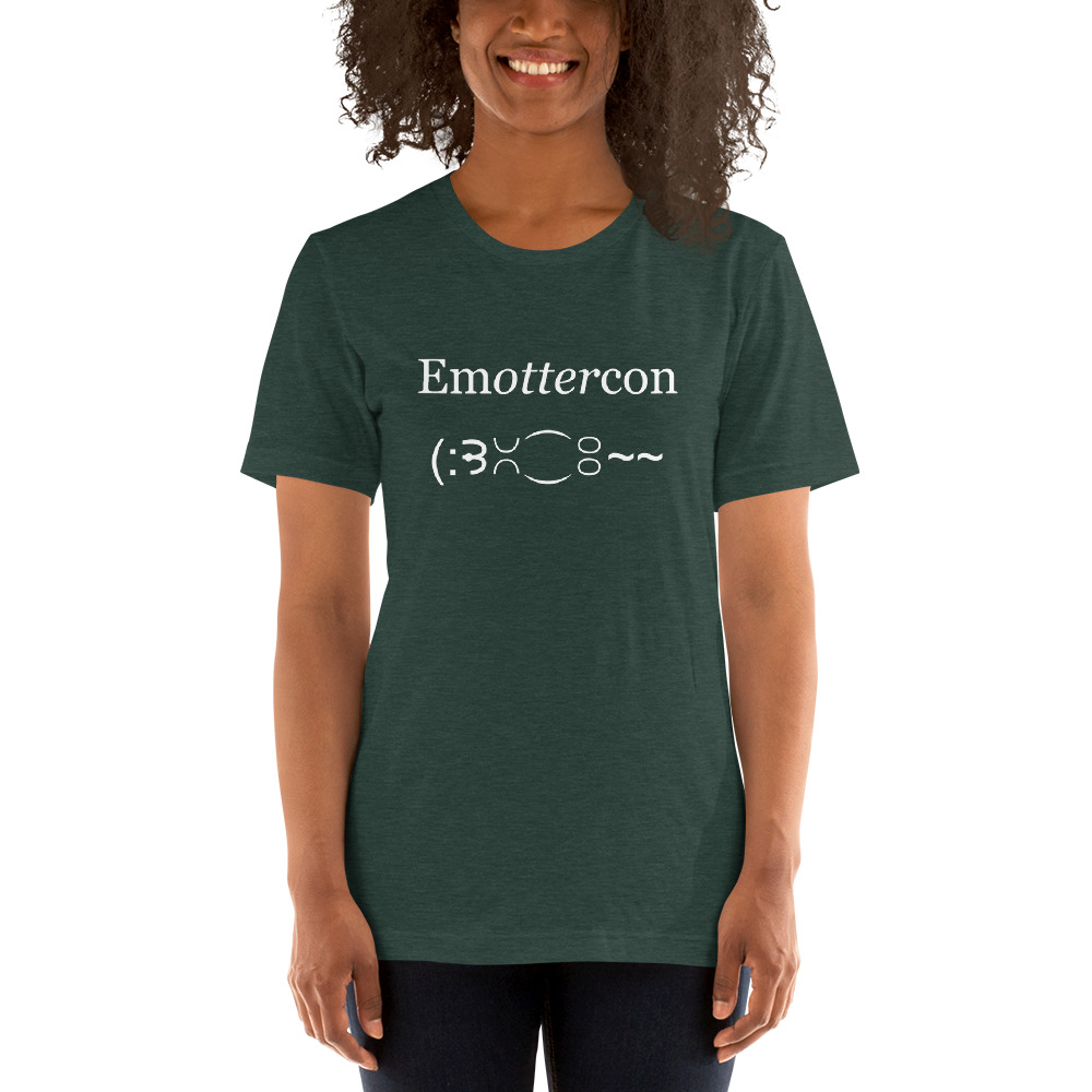 Emottercon2-Unisex T-Shirt-White_mockup_Front_Womens-2_Heather-Forest