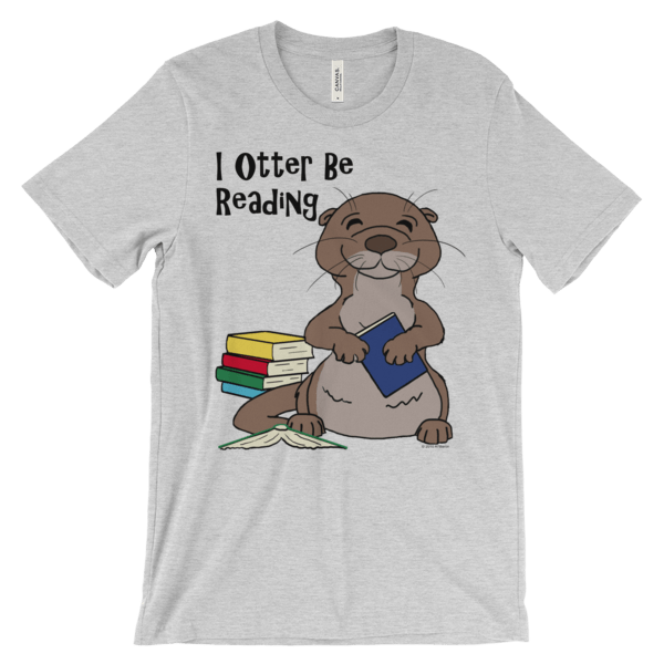I Otter Be Reading Heather T-shirt