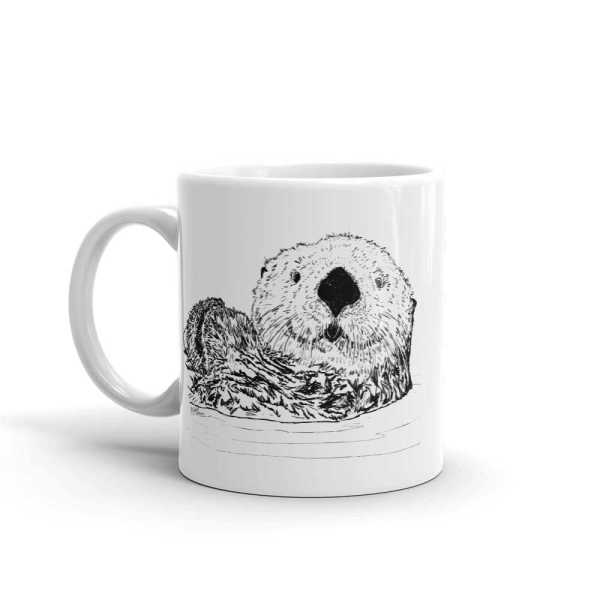 Pen & Ink Sea Otter Head Mug mockup_Handle-on-Left_11oz