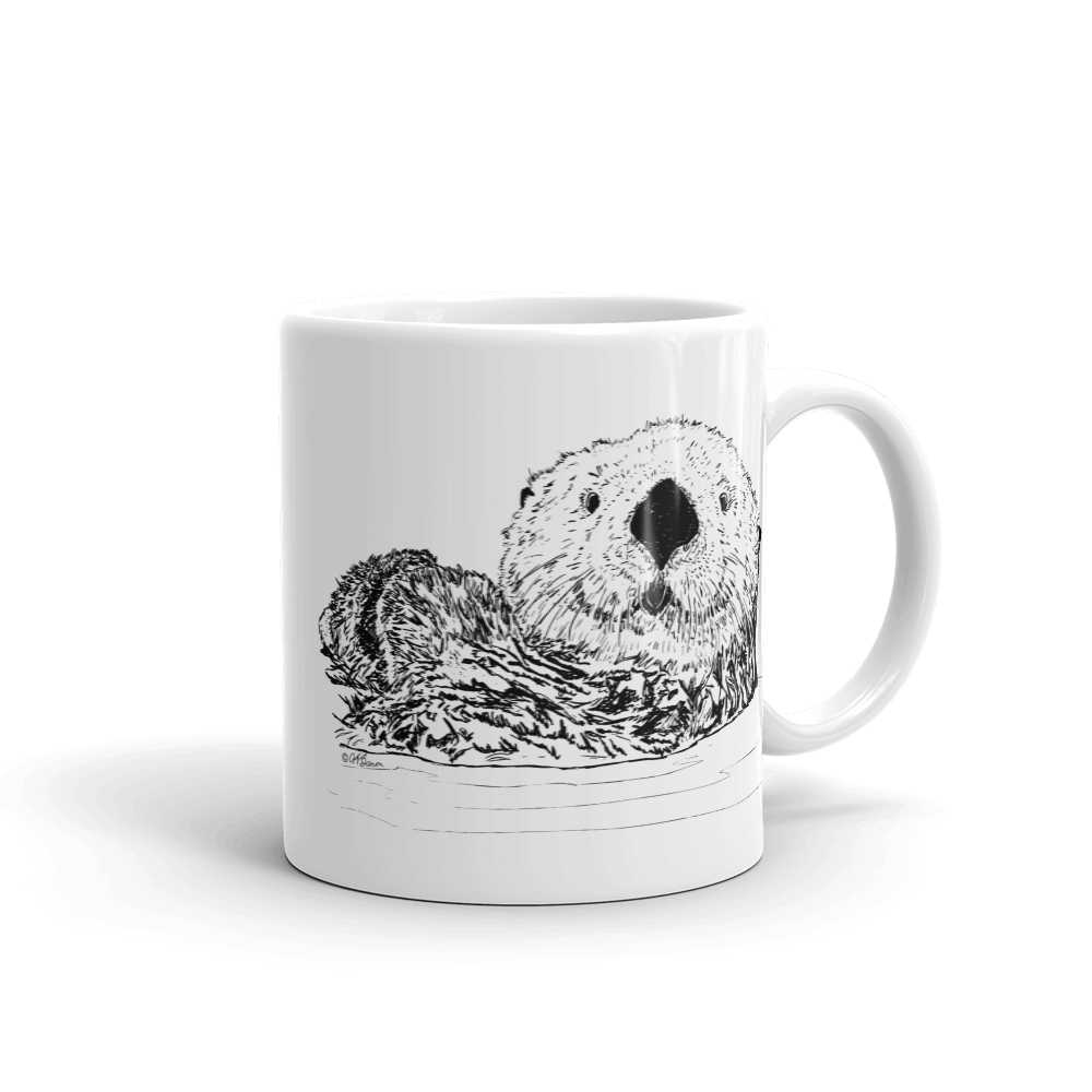 Pen & Ink Sea Otter Head Mug mockup_Handle-on-Right_11oz