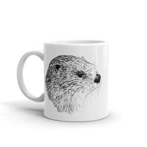 Pen & ink River otter Head Mug mockup_Handle-on-Left_11oz