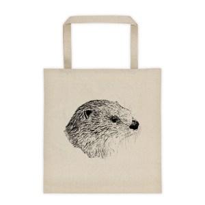 Pen & Ink River Otter Head Tote_mockup_Front_Flat_Natural