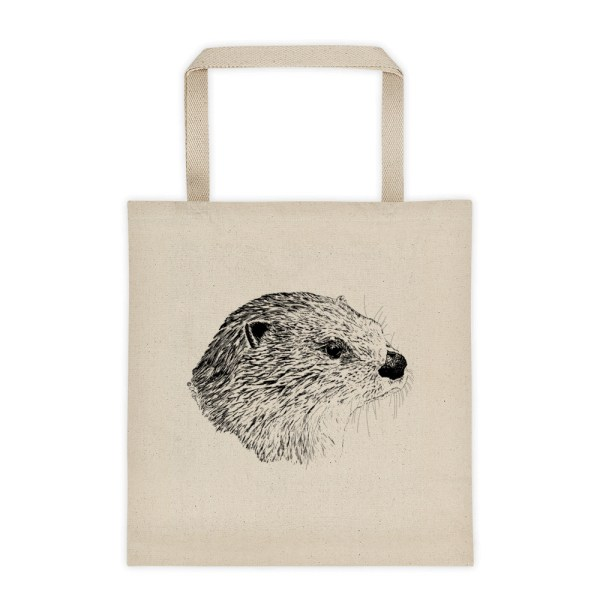 Pen & Ink River Otter Head Tote_mockup_Front_Flat_Natural