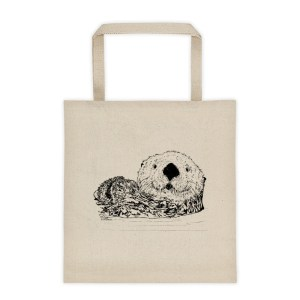 Pen & ink Sea Otter Head Tote_mockup_Front_Flat_Natural