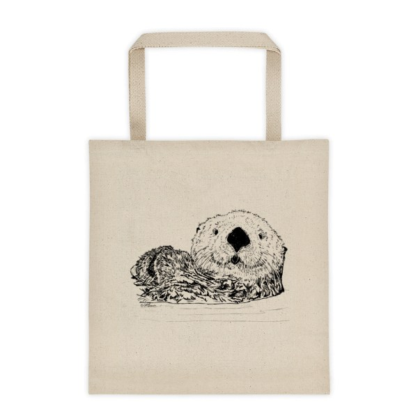 Pen & ink Sea Otter Head Tote_mockup_Front_Flat_Natural