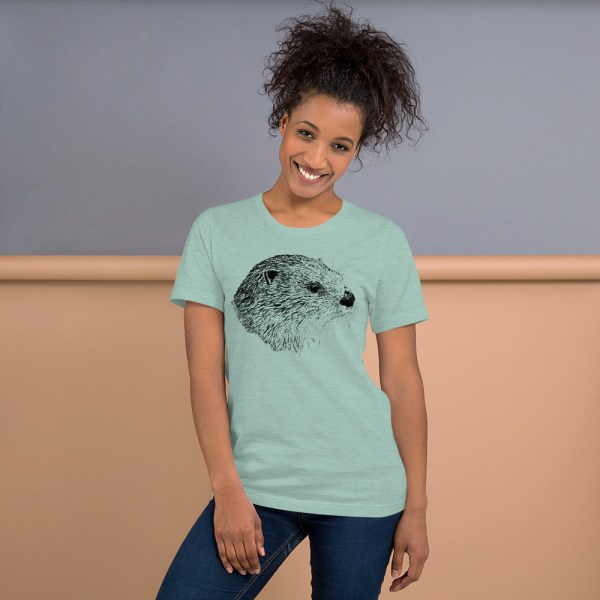 Pen & Ink River Otter Head Unisex T-Shirt_mockup_Front_Womens-Lifestyle_Heather-Prism-Dusty-Blue