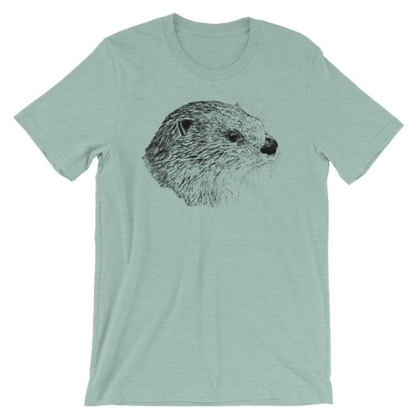 Pen & Ink River Otter Head Unisex T-Shirt_mockup_Front_Wrinkled_Heather-Prism-Dusty-Blue