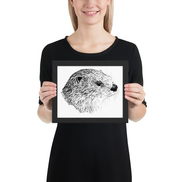 Pen & Ink River Otter Head Framed Poster with Person Mockup 8x10 in