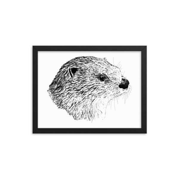 Pen & Ink River Otter Head Framed Poster Mockup 12x16 in