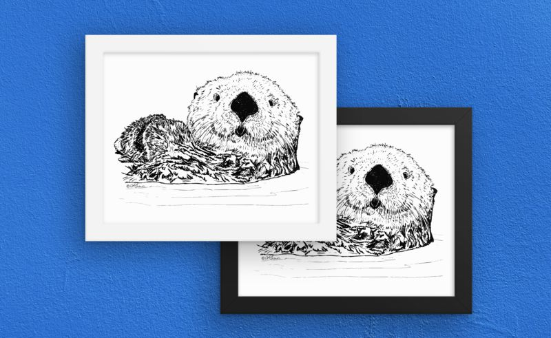 Otter Things white frames on art