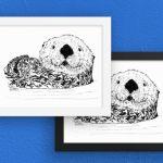 Otter Things white frames on art