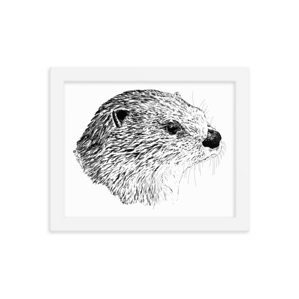 Pen & Ink River Otter Head White Framed Poster Mockup 8 x10 in