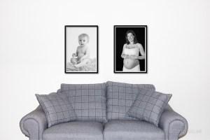 väggförstoring av barnfoto och gravidfoto