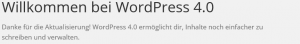 Willkommensmeldung von WordPress 4.0
