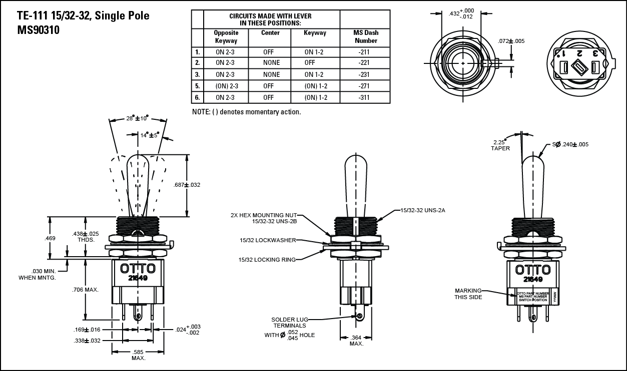 TE Commercial and Military Non-Teasible Toggle Switch