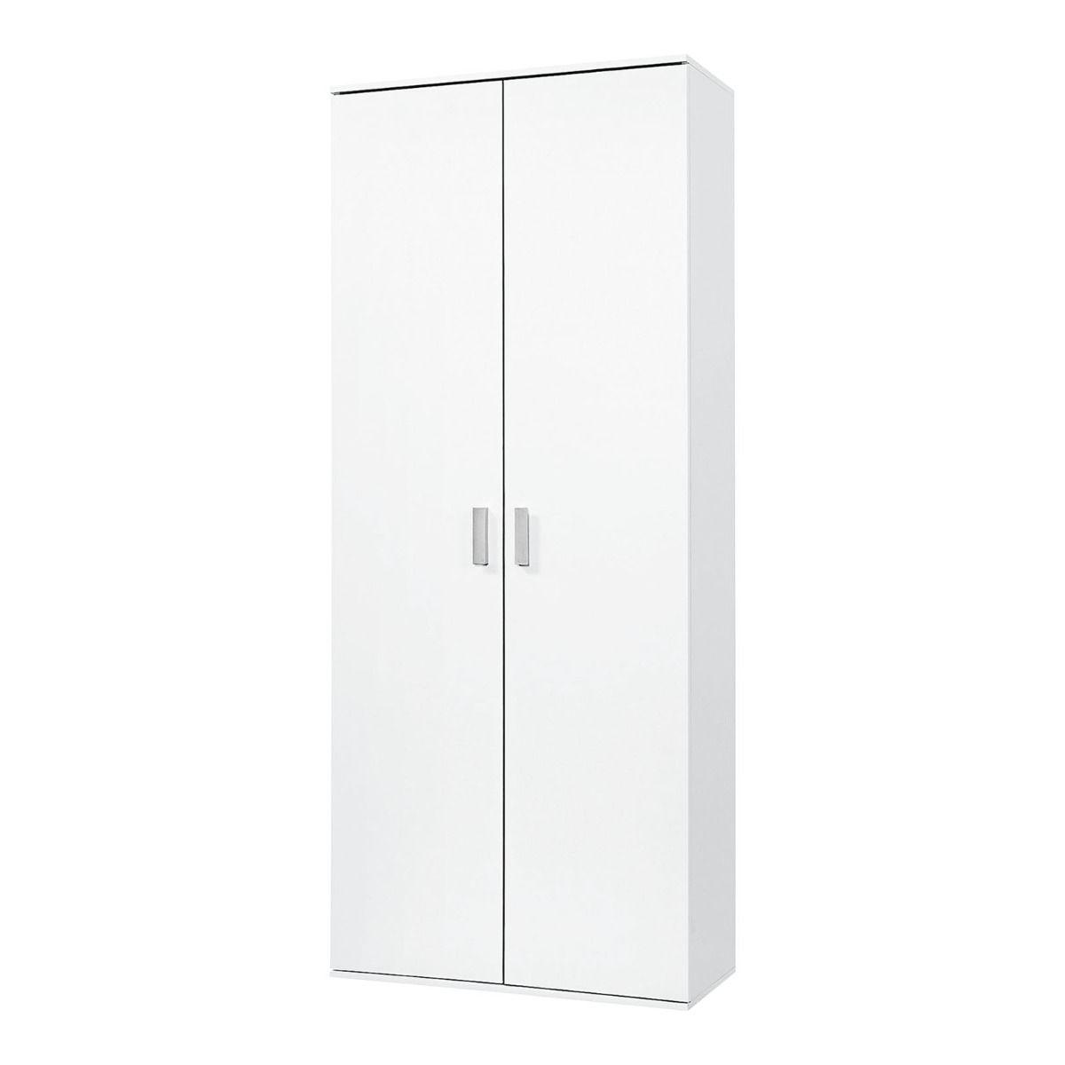 armoire a balais kreta 2 decor blanc