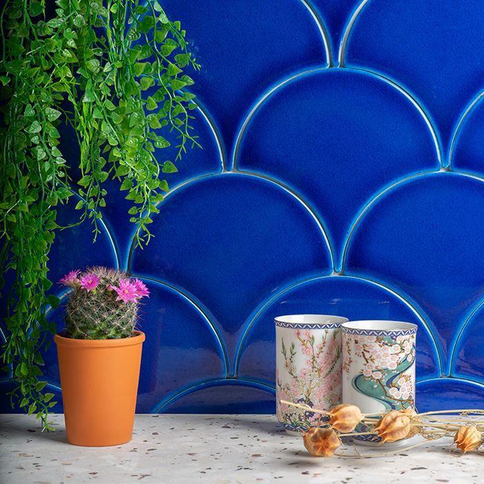 fish scale blue ceramic tile