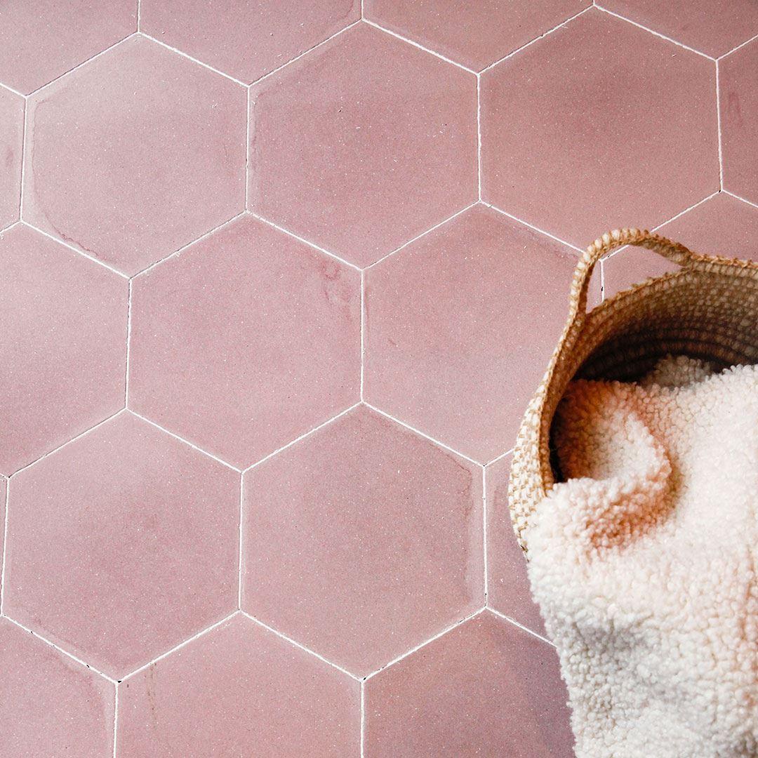 hex plain candy encaustic cement tile
