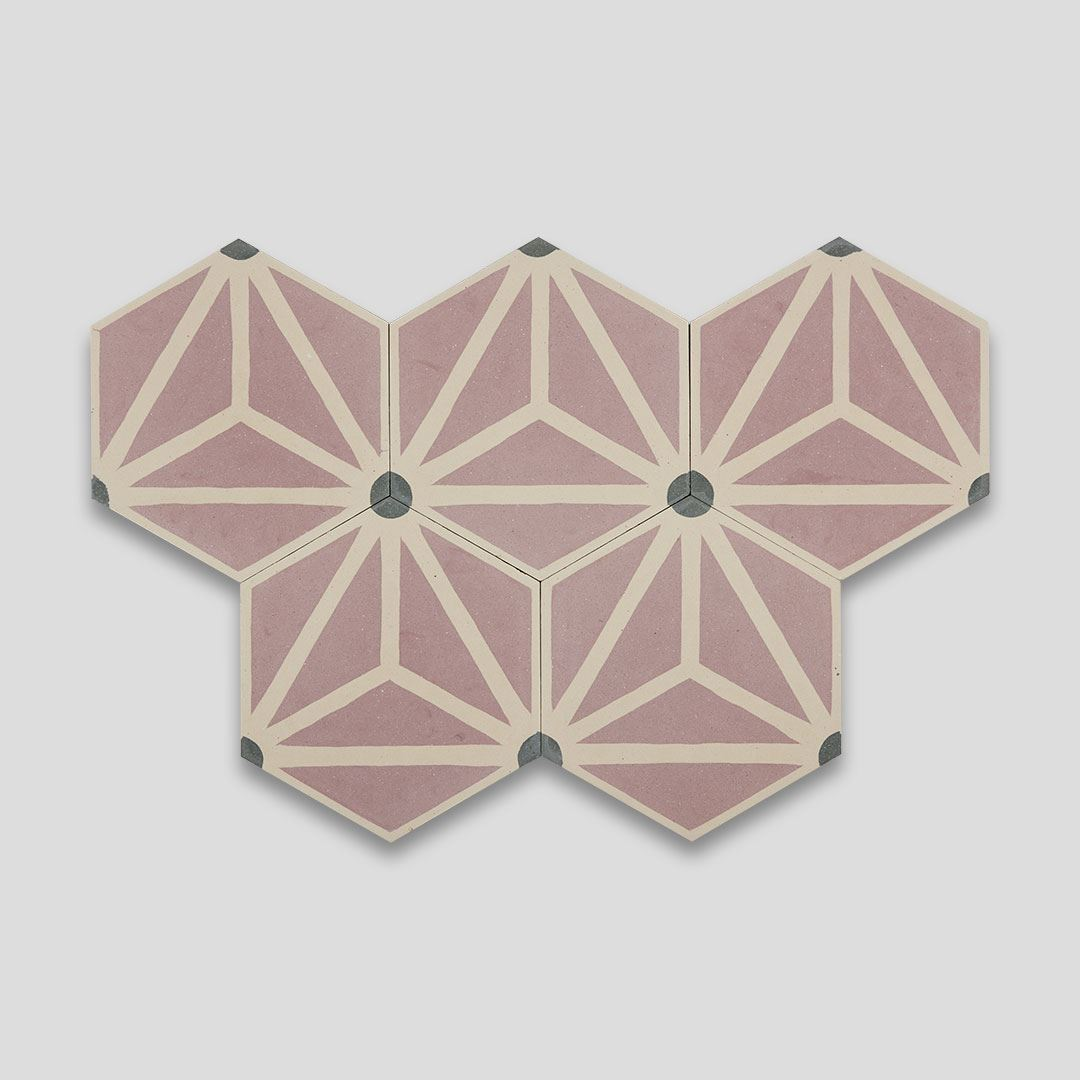 hex triangle pink encaustic cement tile otto tiles design
