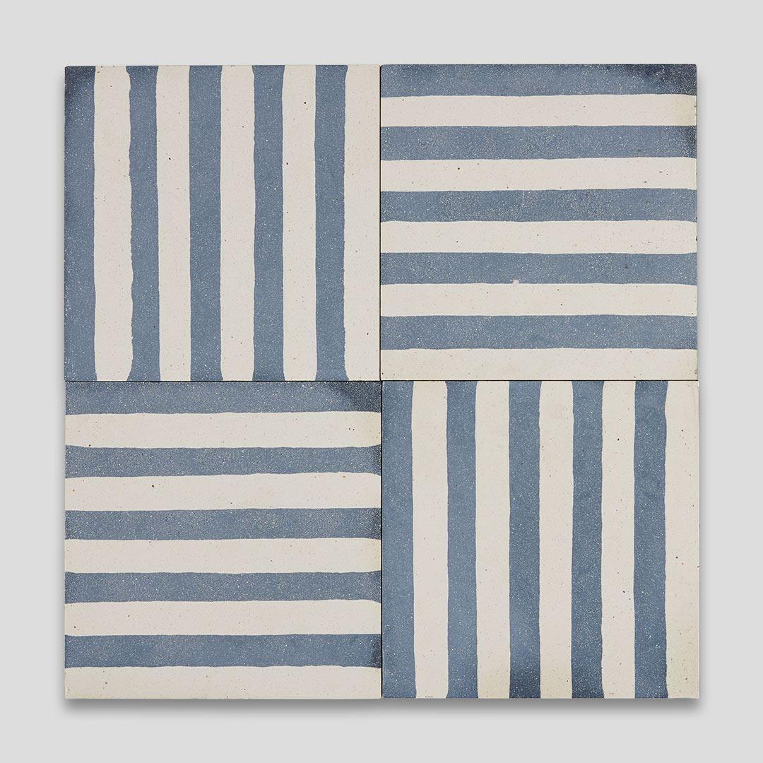 navy blue stripes encaustic cement tile otto tiles design