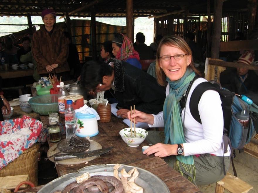 Eating local at the Bac Ha Sunday Market Northern Vietnam