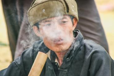 Smoking Bac Ha Sunday Market Northern Vietnam