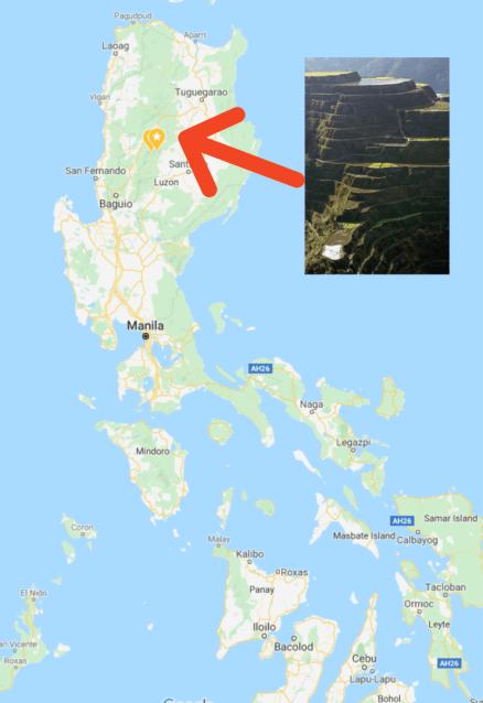map of banaue and batad rice terraces