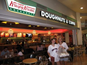 Megan and Cyndi pick up our daily dozen of donuts