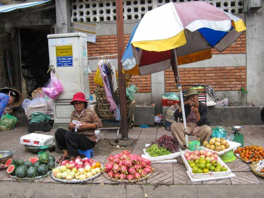 Vietnamese fruit market on the street