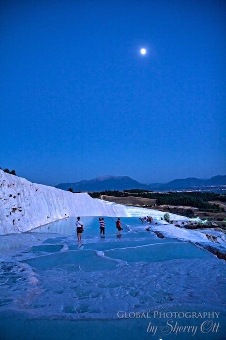descending the Pamukkale terraces in moonlight