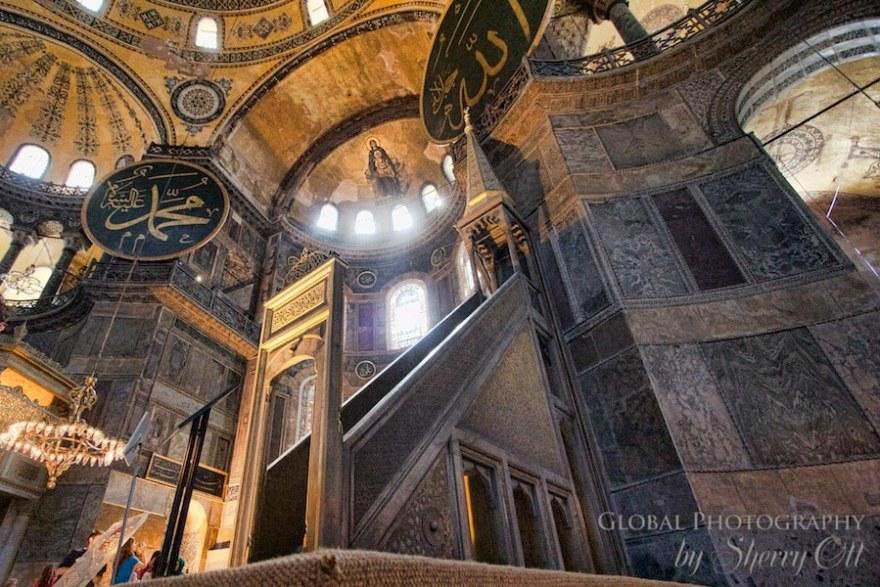 The minbar where the speaker leads the prayers