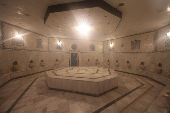 The hot steamy marble bath