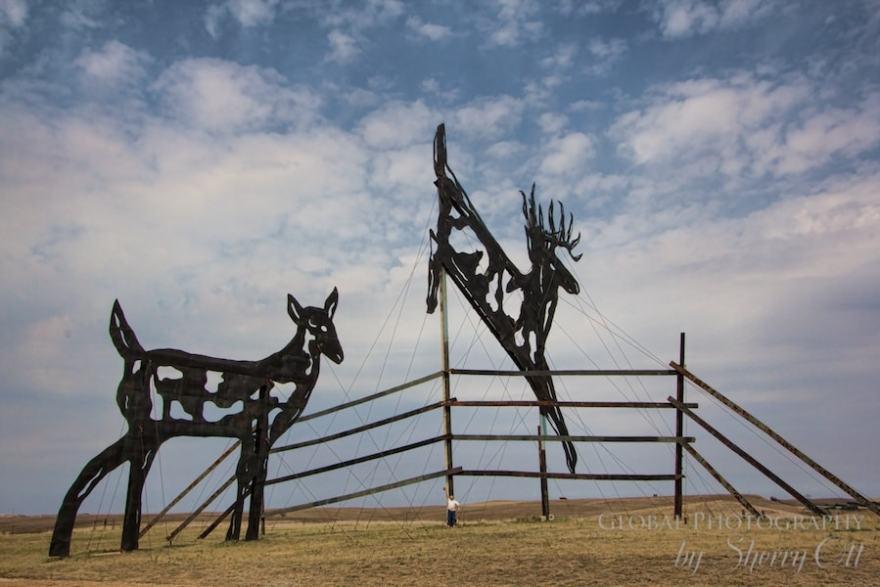Enchanted Highway Giant deer metal sculpture