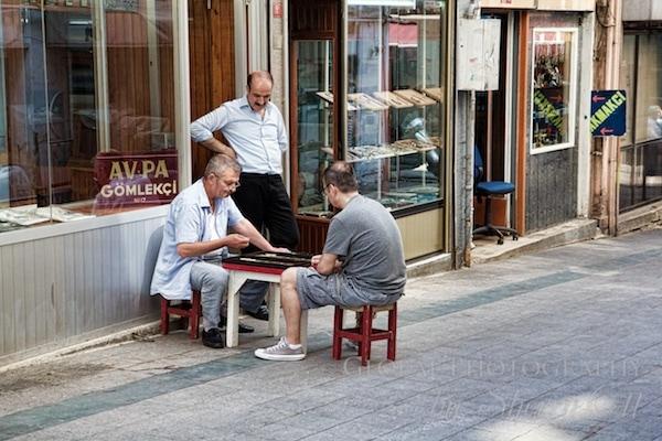 men playing backgammon in galata