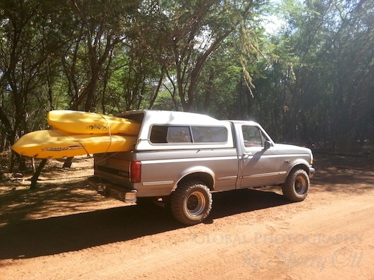 kayaks in the truck