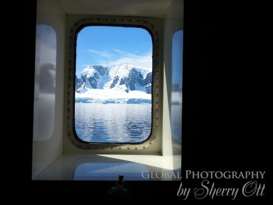 window view on the cruise ship to Antarctica