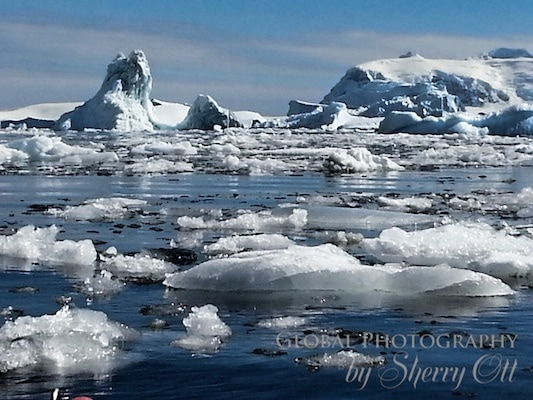 Brash ice that we had to paddle through - antarctica