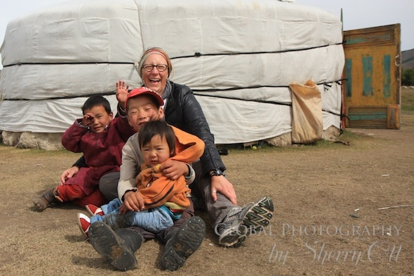 hanging out with kids in Mongolia
