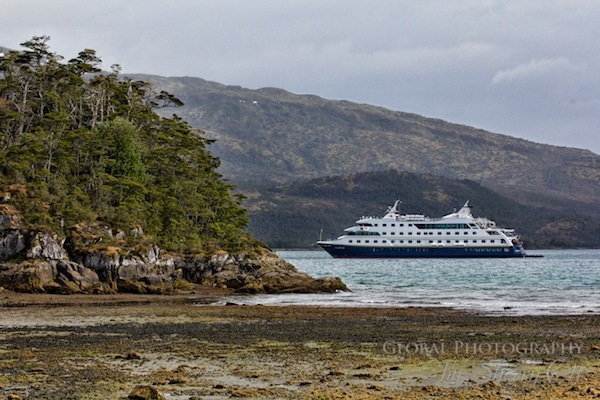 Via Australis anchored in Patagonia