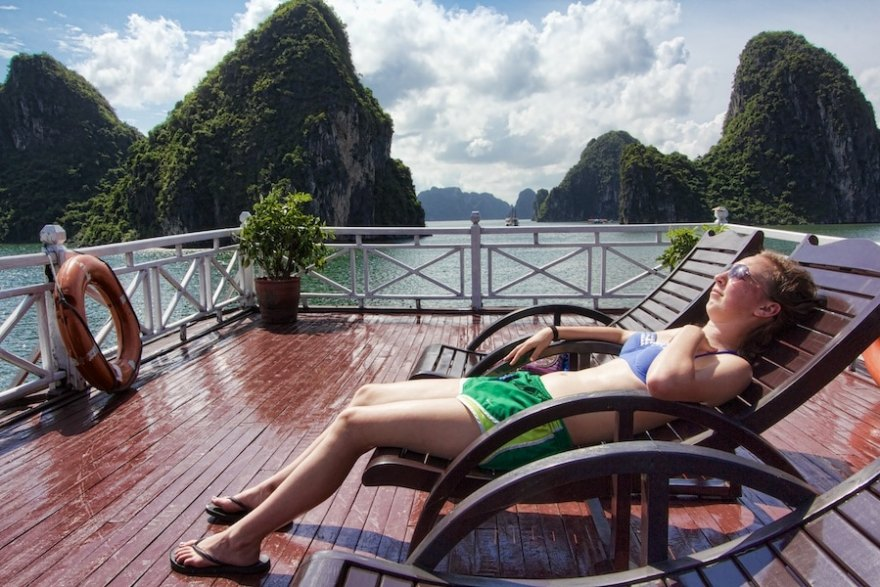 ha long bay sunbathing