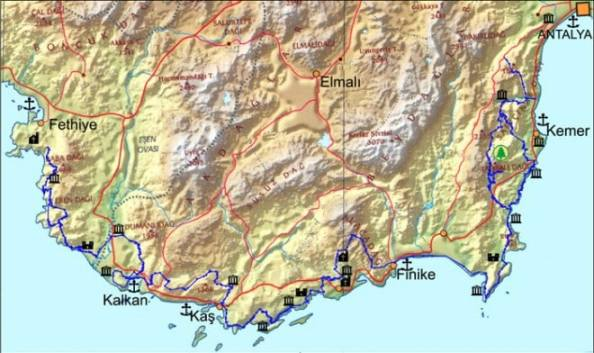 lycian way hiking route map